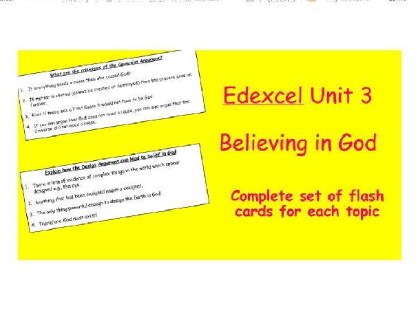 Edexcel Christianity Believing in God Revision Flash Cards