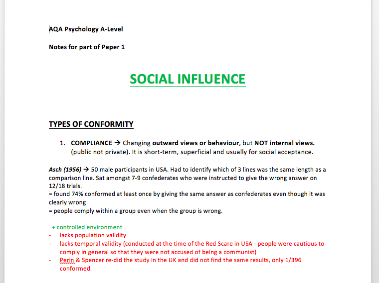 A* Memory & Social Influence Revision Notes - A Level Psychology - AQA Paper 1