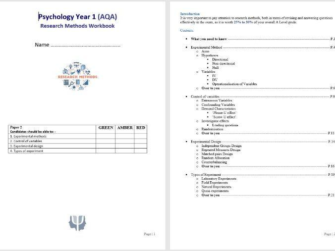 Research Methods Workbook 1