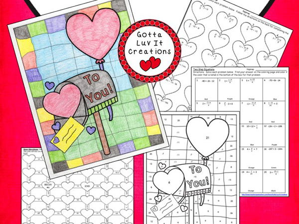 Solving Equations Valentine's Day Math Two Step Equations Maze & Color by Number Activity Set