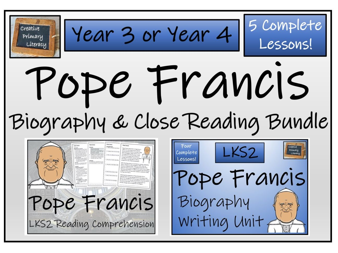 LKS2 Pope Francis Reading Comprehension & Biography Bundle