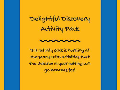 Delightful Discoveries ¦ Early years activity bundle