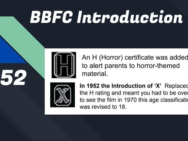 BBFC Classification Censorship Intro PP, recap history research class activity, screening worksheet