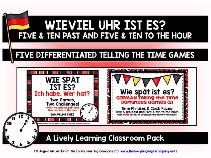 GERMAN TELLING THE TIME (2) - FIVE GAMES & CHALLENGES PACK