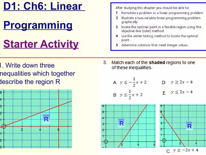Decision 1 Chapter 6 Linear Programming