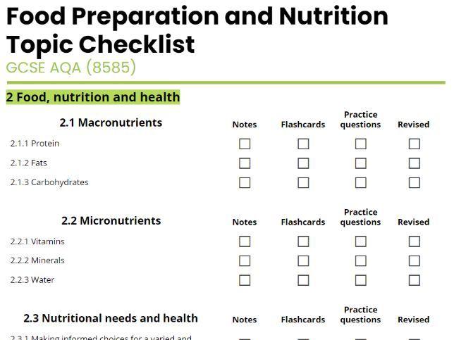 AQA GCSE Food Prep and Nutrition Revision Checklist