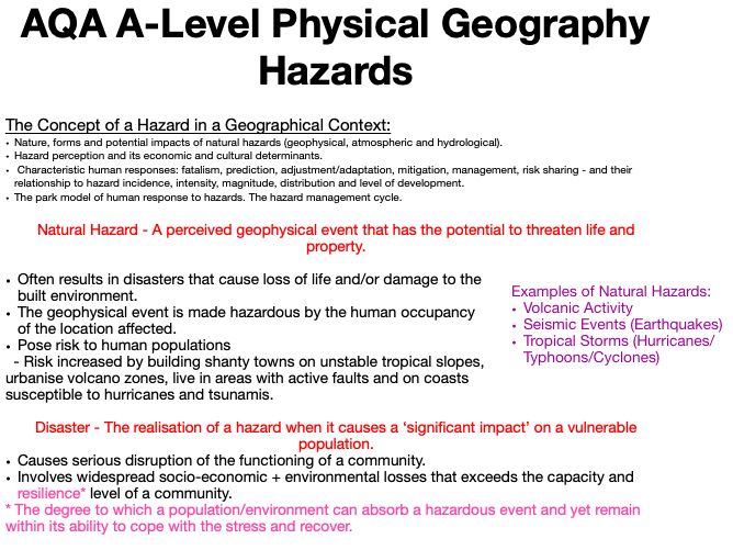 AQA A Level Geography: Hazards - The Concept of a Hazard in a Geographical Context