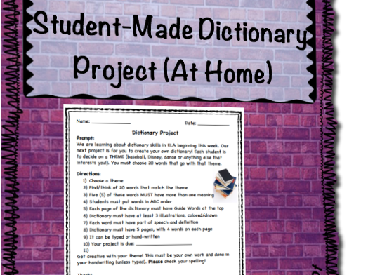 Student Made Dictionary Project (At-Home)