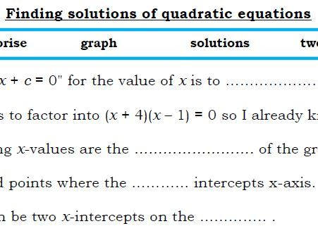 Literacy - Quadratics - Fill in blanks