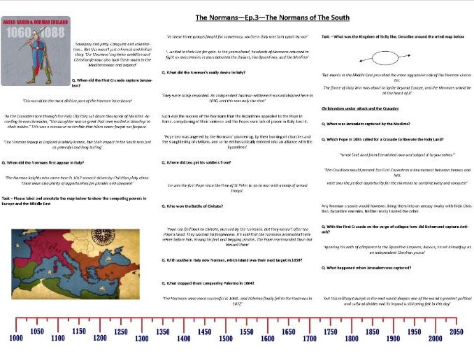 BBC Normans - Ep3 - Normans of the South - Worksheet supporting the Doc - Prof. Robert Bartlett