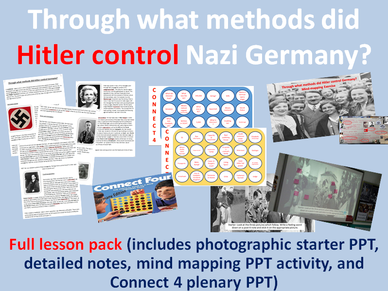 Nazi methods of control - Full lesson pack (starter, notes, mind mapping task, Connect 4 plenary)