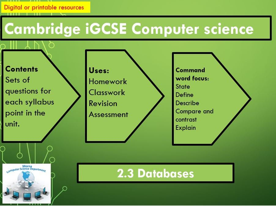 iGCSE Computer Science Revision Activities Unit 2.3 Databases