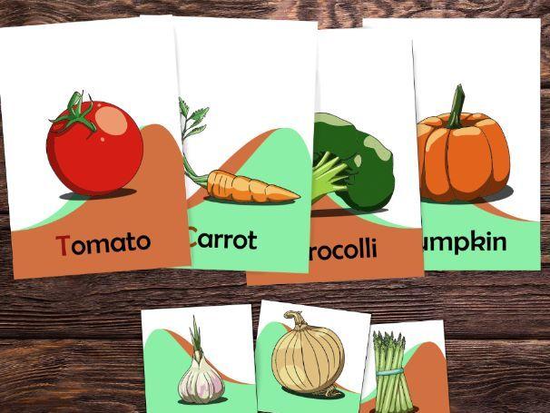 Printable Vegetables flash cards, vegetables worksheets and coloring sheets