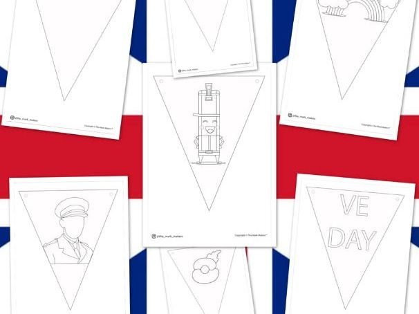 VE Day Bunting Template  / Colouring Sheets