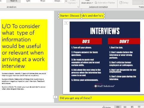 Do's and don'ts  at a job interview