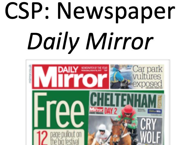 AQA DAILY MIRROR NEWSPAPER GCSE MEDIA STUDIES SOURCE-BASED REVISION
