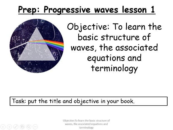AQA AS level New Specification 7407 Unit 3.1 Progressive and stationary waves Lesson 1 of 5