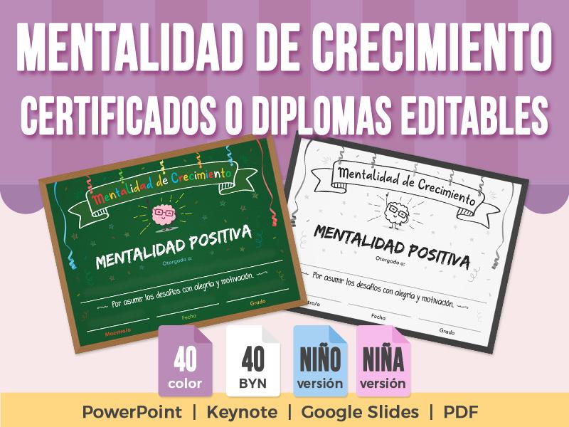 Mentalidad de Crecimiento - Certificados o Diplomas Editables