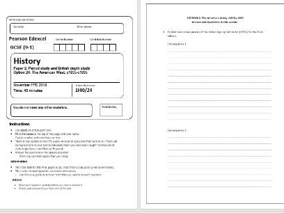 Edexcel Paper 2 American West PPE assessment - Section A only
