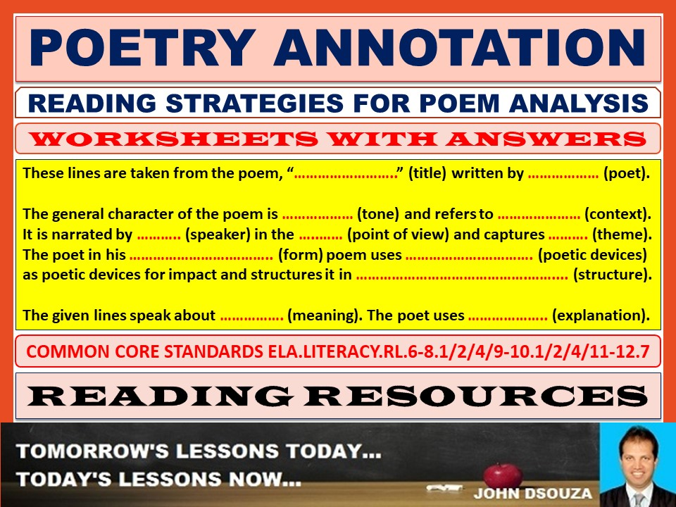 POETRY ANNOTATION WORKSHEETS WITH ANSWERS