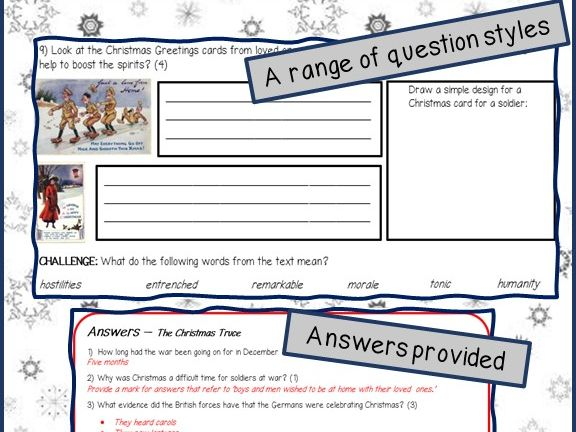 Christmas reading comprehensions - Four activities: Xmas Truce, Xmas Trees, Santa Claus & Frozen!