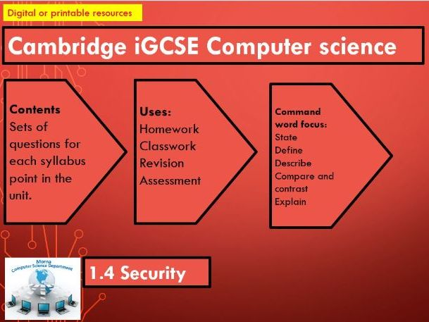 iGCSE Computer Science Revision Activities Unit 1.4 Security