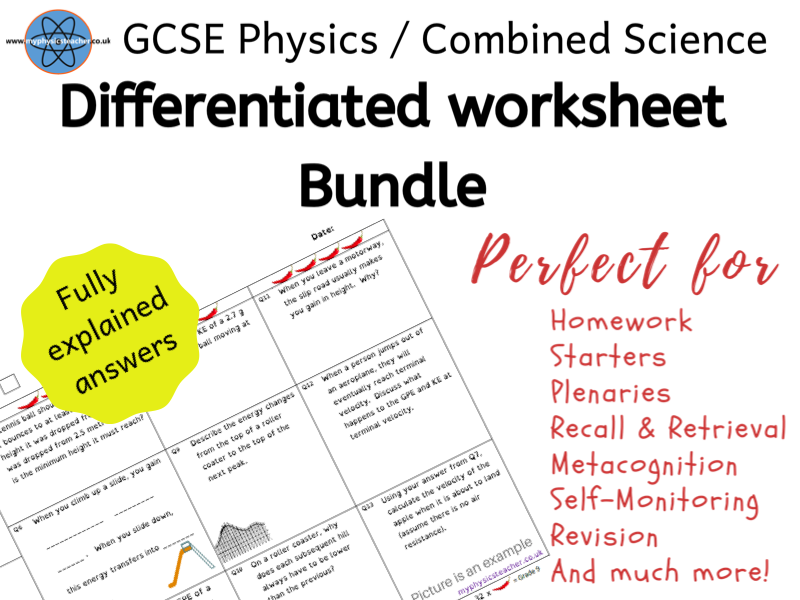 GCSE Physics / Combined Science Differentiated Equation Worksheets suitable for lockdown / school closure