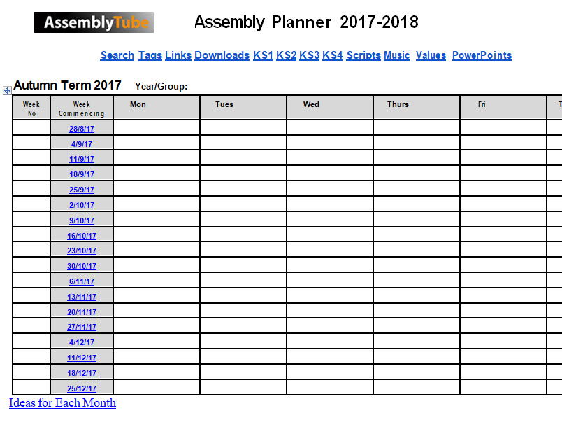 Assembly Year Planner 2017-2018