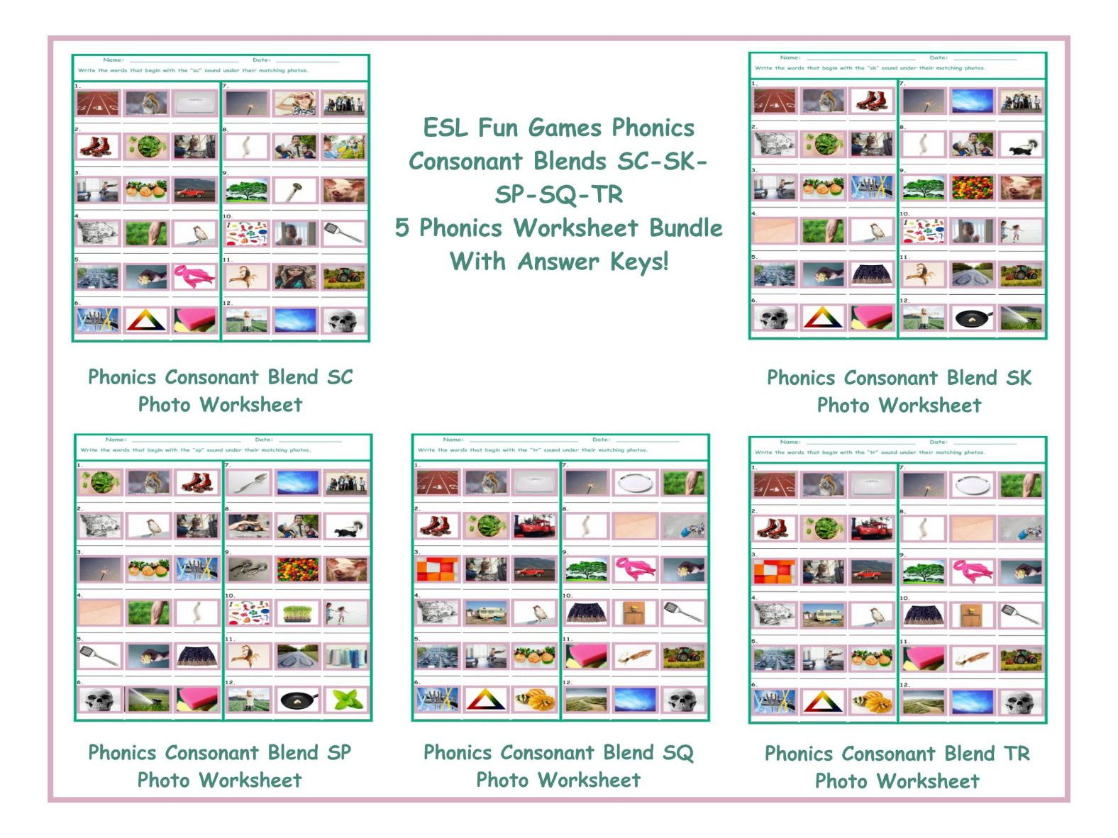 worksheet Consonant Blend Worksheets phonics consonant blends sc sk sp sq tr 5 worksheet bundle by eslfungames teaching resources tes