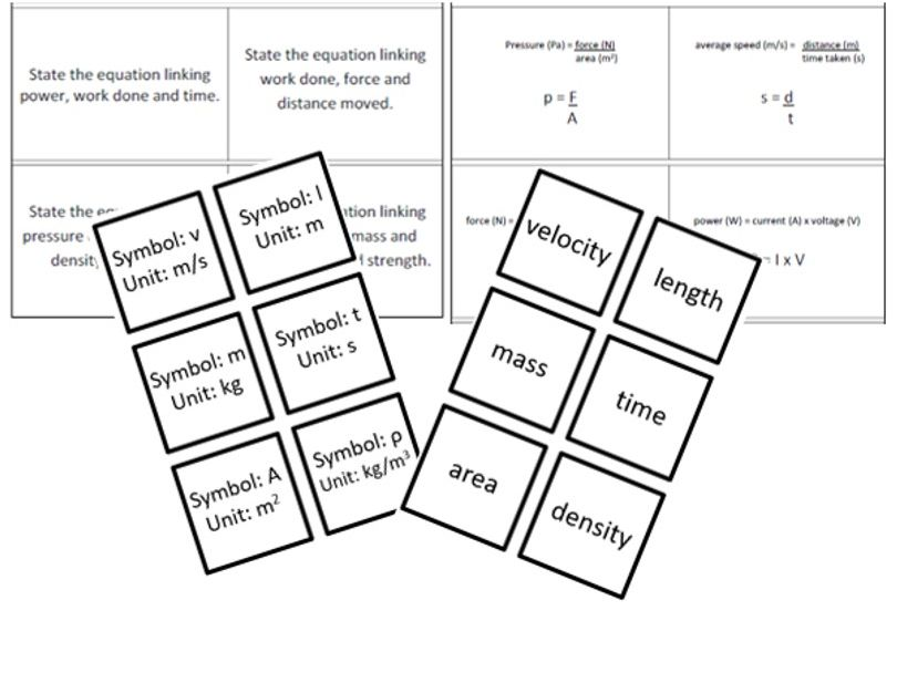 OCR Physics Equations matching game - All Physics equations, formulae and units
