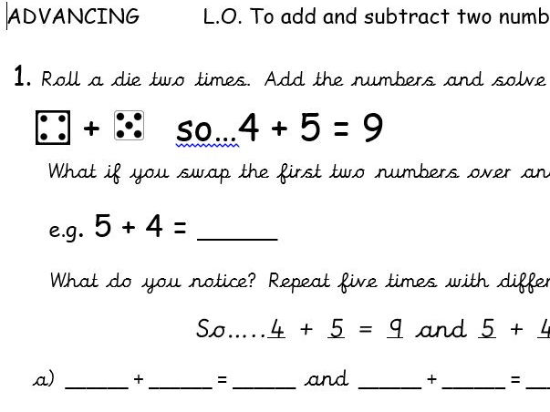Maths - add and subtract investigation