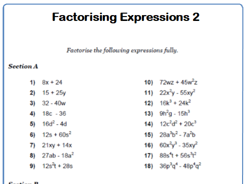 Factorising Expressions into Single Brackets Maths Worksheet