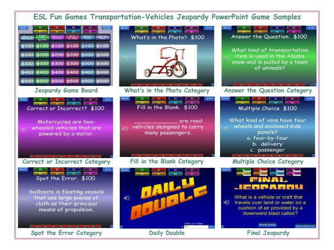 Transportation-Vehicles Jeopardy PowerPoint Game