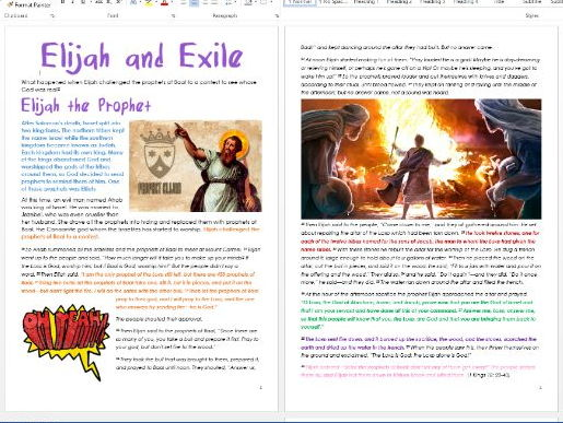 Old Testament Stories: Elijah and Exile: Differentiated Information and Activity Sheets