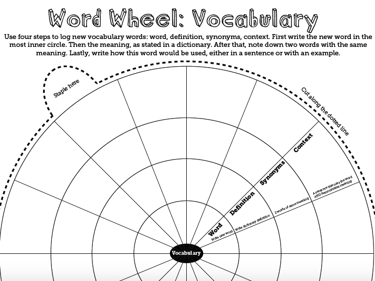 Vocabulary Building Word Wheel