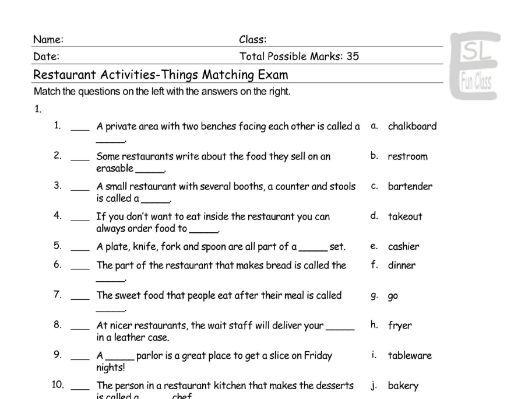 Restaurant Activities-Things Matching Exam