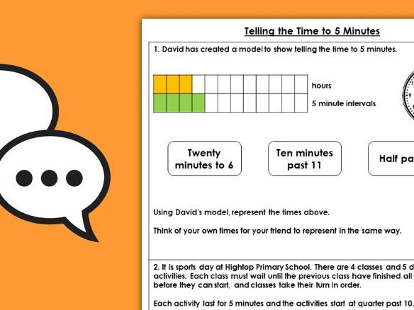 Year 2 Telling Time to 5 Minutes Summer Block 3 Maths Discussion Problems