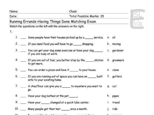 Running Errands-Having Things Done Matching Exam