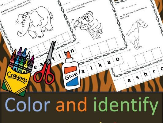 Cut and Paste Activity: Color and Identify Animals