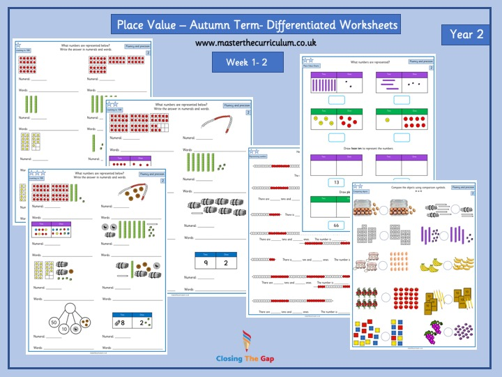 Year 2- Autumn Block 1- Place Value - Week 1&2 - Differentiated Worksheets White Rose Style