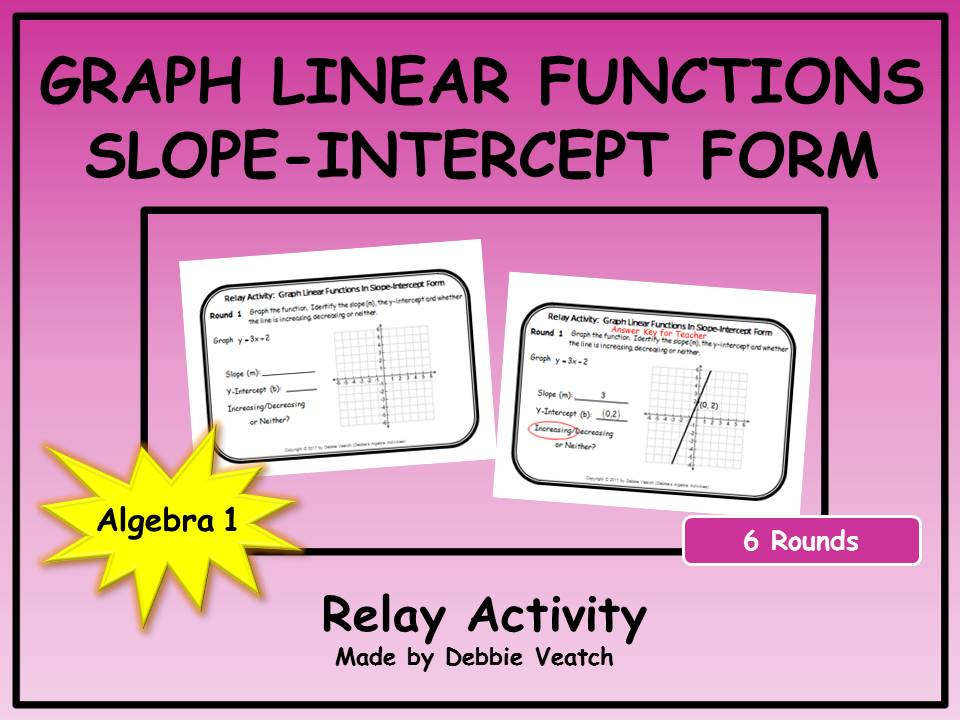 Graph Linear Functions in Slope-Intercept Form Relay Activity by ...