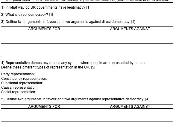 New Edexcel A Level UK Politics Knowledge Test 1