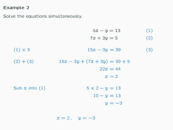Lesson on Simultaneous Equations by Elimination and Substitution