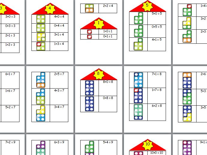 Number bond houses 1-10 display