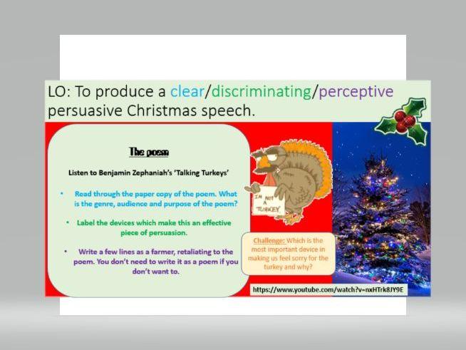 Christmas Dinner - Persuasive Writing Lesson