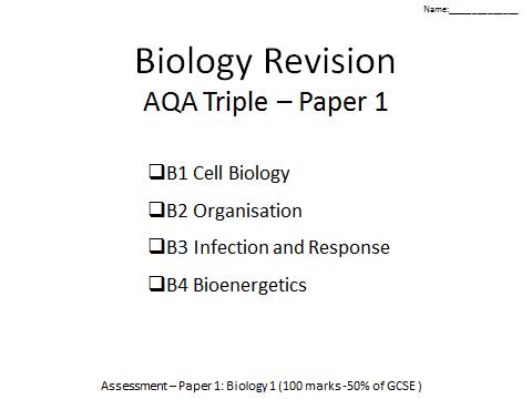 AQA Biology GCSE paper 1 revision B1-4