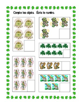 St Patrick's Day counting worksheets in French