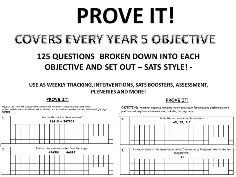 PROVE IT 375 SATS Style Questions Covering Every Year 4 5 6 Objective