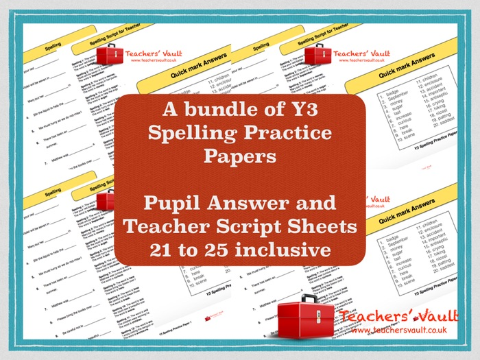 Y3 Spelling Practice Papers Bundle 5 - Papers 21 to 25
