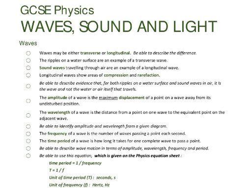 WAVES unit summary/checklist for AQA GCSE Physics
